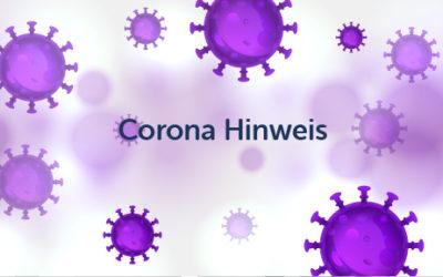 Corona Hinweis
